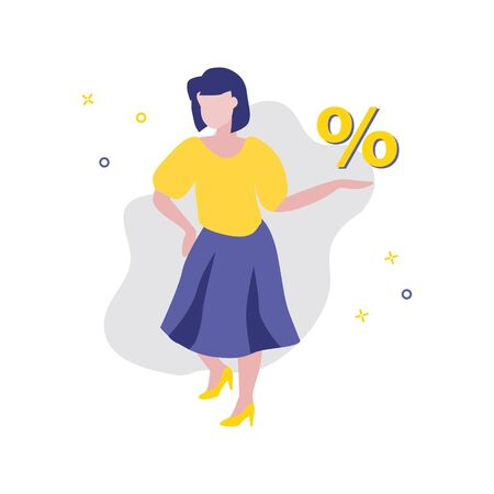 Vector illustration of girl or woman with percent symbol in her hand. Sale, online shopping, shopping app, consumer, discount offer concept. Ð¡onsultant in the store bussiness template 일러스트