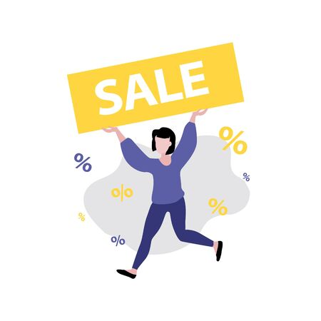 Vector illustration of girl or woman running with sale banner in her hands. Sale, online shopping, shopping app, consumer, discount offer concept. 일러스트
