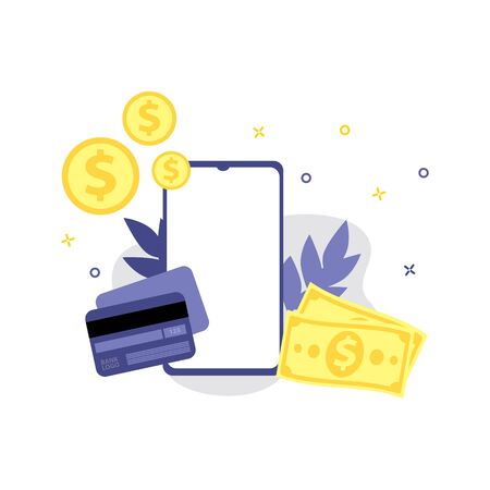 Vector illustration of smartphone, coins, payment or credit card, money cash. Online shopping, shopping app, exchange money concept. Smartphone online payments