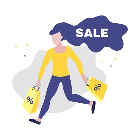 Vector illustration of girl or woman running with shopping bags with percent in her hands and word Sale. Sale, online shopping, shopping app, consumer, discount offer concept. 일러스트