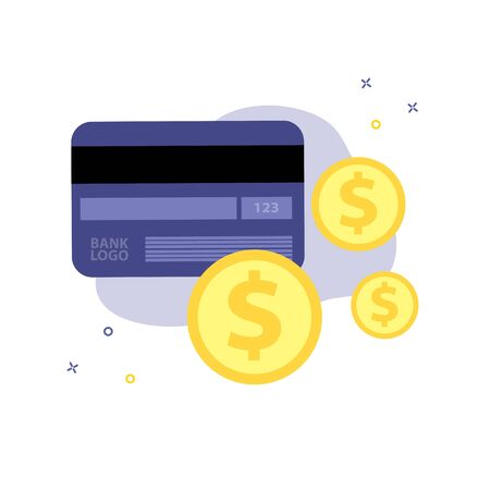 Vector isolate illustration of credit or debit plastic cardwith dollar or cent coins. Bussiness or finance, cash or plastic money concept