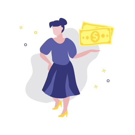 Vector illustration of girl or woman showing dollars. Sale, online shopping, shopping app, consumer concept.