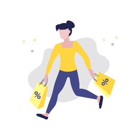 Vector illustration of girl or woman running with shopping bags with percent in her hands. Sale, online shopping, shopping app, consumer, discount offer concept. 일러스트