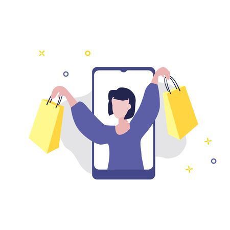 Vector illustration of girl or woman with shopping bags in her hands on screen of smartphone. Sale, online shopping, shopping app, consumer, discount offer concept. Ilustração