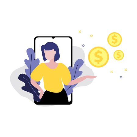 Vector illustration of girl or woman with dollar or cent coins. Sale, online shopping, shopping app, consumer  concept. Seasonal sale offer