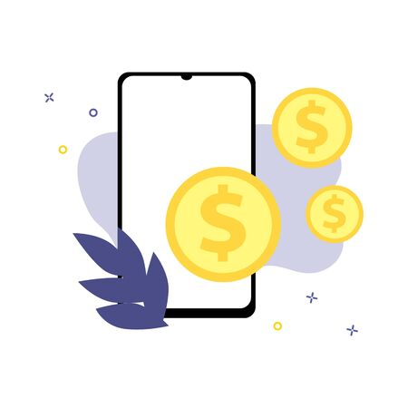 Vector illustration of smartphone with dollar coins.  Online shopping, shopping app, exchange money concept. Smartphone online payments