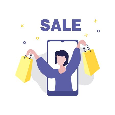 Vector illustration of girl or woman with hands up on screen of smartphone and word Sale. Sale, online shopping, shopping app, consumer, discount offer concept.