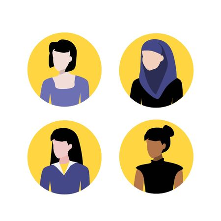 Vector illustration set of muslim, black and white women portraits. Round flat icons. Social network avatars. User pics. Woman face profile icon.