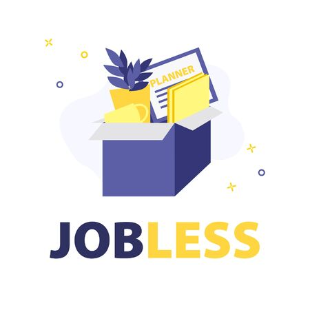 Vector illustration of box of fired employee with work stuff like documents, cup, plant in pot and planner. Jobless problem, loose job cause coronavirus. Uneployment on quarantine