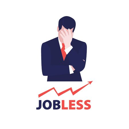 Vector illustration of despair businessman with up graph arrow and word jobless. Jobless problem, lose job. Uneployment, economic crisis, bussiness and financial depression.