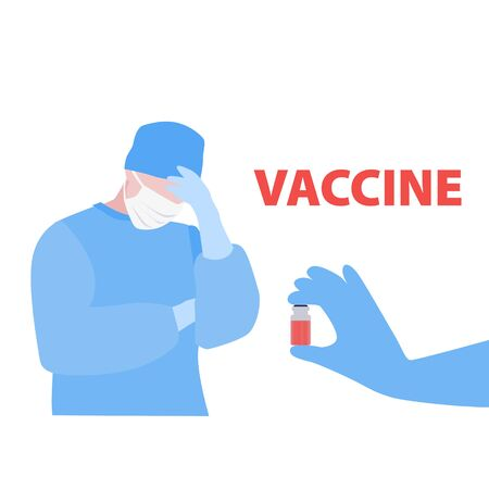 Vector handdrawn illustration of nurse or doctor in mask and gloved hand with ampoule with the vaccine. Medical, search for a cure concept