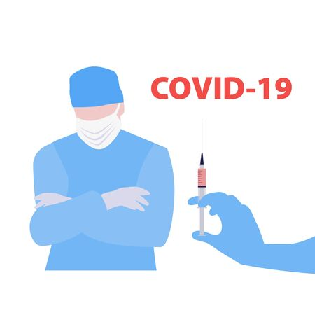 Vector handdrawn illustration of nurse or doctor crossed arms on chest and gloved hand with syringe with the covid-19 vaccine. Medical concept 일러스트