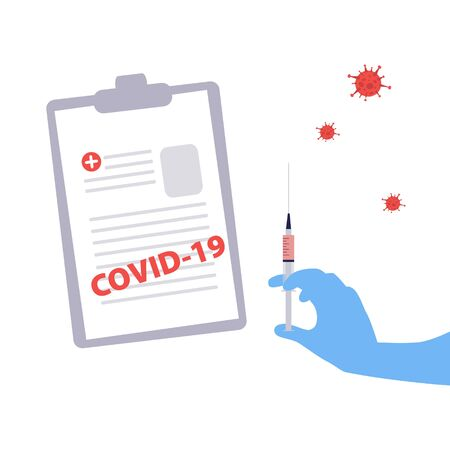 Vector handdrawn illustration of nurse or doctor gloved hand with syringe with the vaccine and viruses around and the form with the diagnosis Covid-19. Medical concept 일러스트
