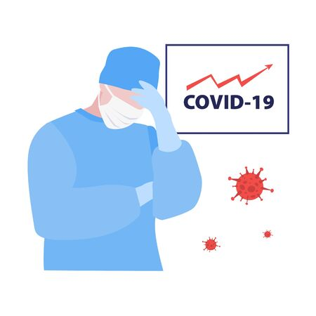 Vector illustration of tired doctor or nurse in mask and board with high arrow graph of covid-19. Medical warning concept