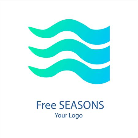 Vector trendy marine logo of a green blue algae or kelp waves in modern gradient colors. Can be used for sea store, ocean products, eco company, camp or business. Flat style
