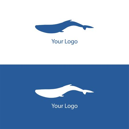 Vector trendy marine logo of a wild whale in deep water ocean or sea in white and dark blue backgrounds. Can be used for sea store, ocean products, eco company, camp or business