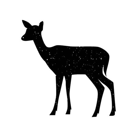 Vector black grain starry silhouette of a deer or doe Illustration isolated on white with constellation of stars. Illustration