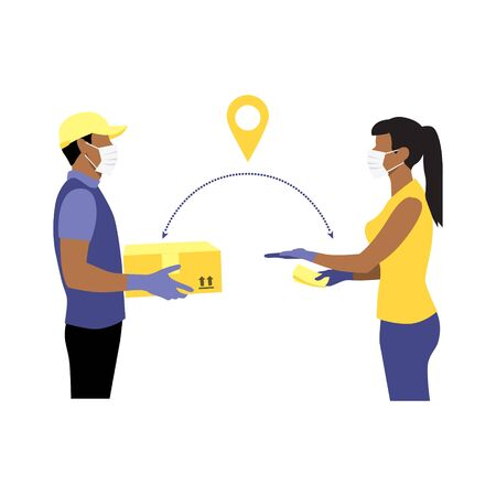 Vector illustration of black courier in protective gloves and mask with package and black woman reaching out hand to get box and money in other hand. Delivering parcel concept. Online shopping order