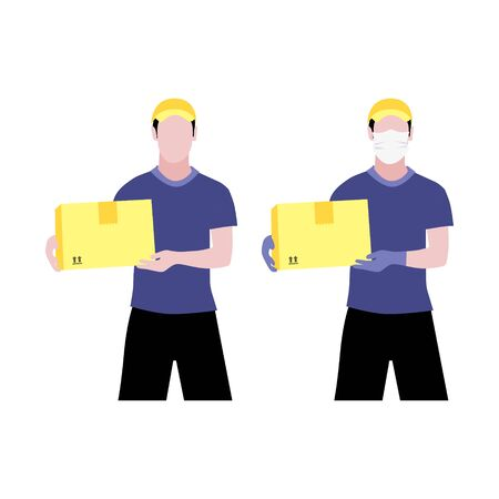 Vector set illustrations of two white men in and without protective medical mask and a cap is delivering the box. Safe contactless delivery to the door by courier concept. Online shopping order