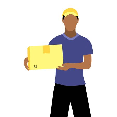 Vector illustration of black man with documents is delivering the parcel or box.  Safe contactless delivery to the door by courier concept. Online shopping order