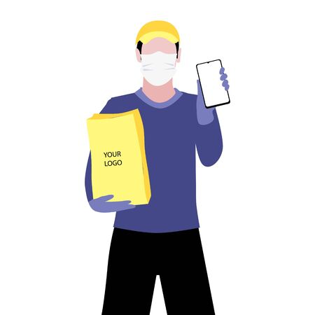 Vector illustration of white man in protective medical mask and a cap is delivering the paper package and showing smartphone. Safe online delivery to the door concept. Online shopping order