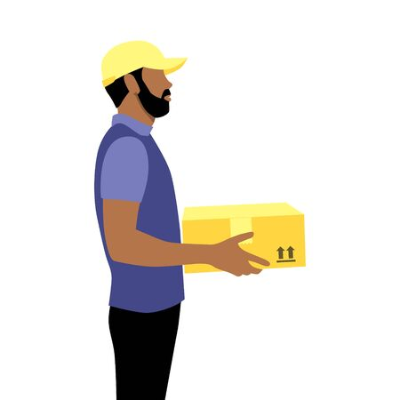 Vector illustration of black afro courier with beard in cap with package.  Delivering the parcel or box concept. Online shopping order
