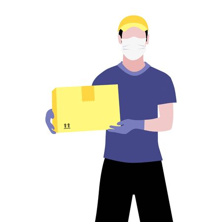 Vector illustration of white man in protective medical mask and gloves is delivering the parcel or box.  Safe contactless delivery to the door by courier concept. Online shopping order