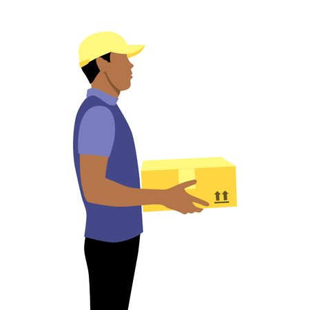 Vector illustration of black young afro or latin courier in cap with package.  Delivering the parcel or box concept. Online shopping order. Boy works after school Illustration