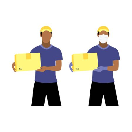 Vector illustration set of black or latin men with and without protective medical mask and gloves is delivering the box. Safe contactless delivery to the door by courier concept. Online shopping order Illustration