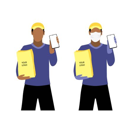 Vector illustration set of black men in and without  protective medical mask and a cap is delivering the paper package and showing smartphone. Safe online delivery to the door concept. Online shopping order Illustration