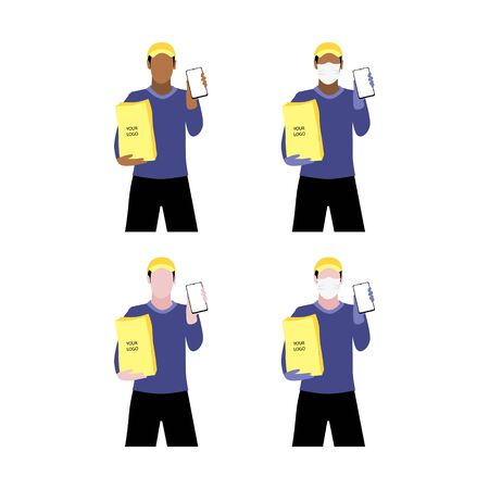 Vector illustration set of black and white men in and without  protective medical mask and a cap is delivering the paper package and showing smartphone. Safe online delivery to the door concept. Online shopping order Illustration
