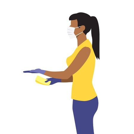 Vector illustration of beautiful black woman in medical protective mask hold out hand with money and receive the delivery package. Quarantine delivery servise.