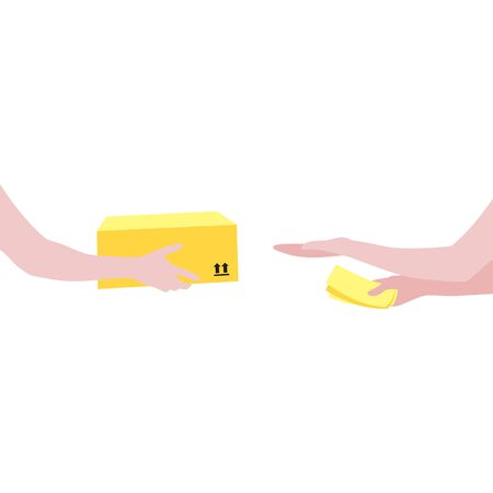Vector illustration of courier's hands with package and human reaching out hand to get box and  money in other hand.  Delivering the parcel or box concept. Online shopping order Illustration