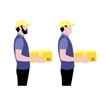 Vector illustration set of two couriers with package.  Delivering the parcel or box concept. Online shopping order. Young boy and adult with beard  worker
