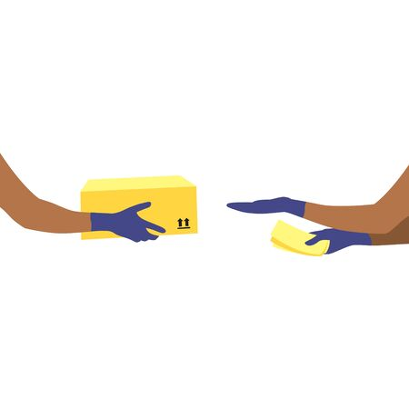 Vector illustration of black courier's hands in protective gloves with package and human reaching out hand to get box and  money in other hand.  Delivering the parcel or box concept. Illustration