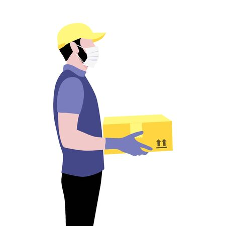 Vector illustration of courier with beard in protective gloves, mask and cap with package.  Delivering the parcel or box concept. Online shopping order
