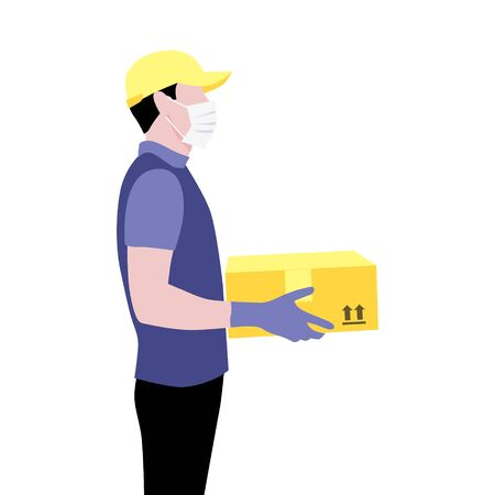 Vector illustration of courier in protective gloves, mask and cap with package.  Delivering the parcel or box concept. Online shopping order