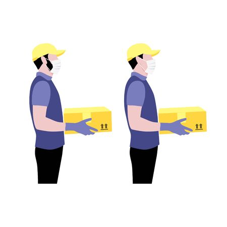 Vector illustration set of courier in protective gloves and masks with package.  Delivering the parcel or box concept. Online shopping order. Young boy and adult worker