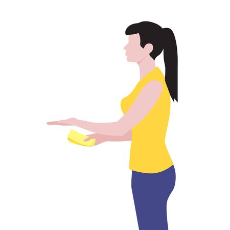 Vector illustration of beautiful white woman hold out hand with money and receive the delivery package. Delivery servise. Woman customer, online shopping Illustration