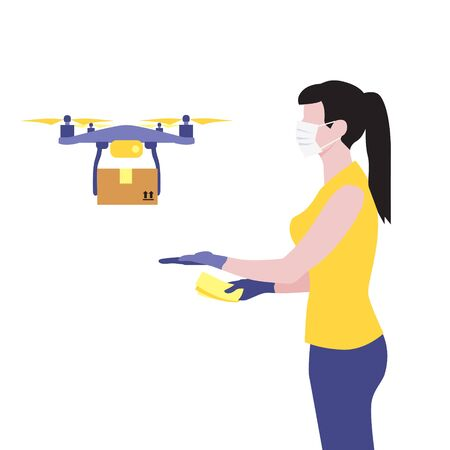 Vector illustration of white woman in protective medical mask and a flying drone delivering the parcel or box.  Safe contactless delivery to the door by drone concept. Online shopping order