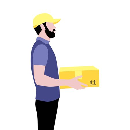Vector illustration of courier with beard in cap with package.  Delivering the parcel or box concept. Online shopping order