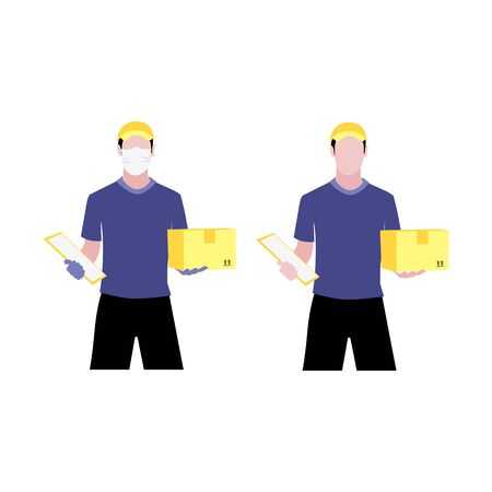 Vector illustration set of white men with and without protective medical mask and gloves is delivering the box.  Safe contactless delivery to the door by courier concept. Online shopping order