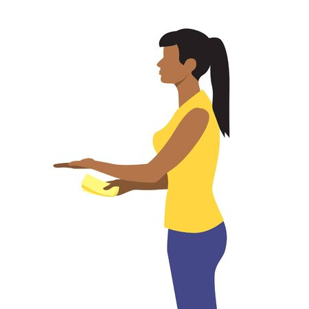 Vector illustration of beautiful black or latin woman hold out hand with money and receive the delivery package. Delivery servise. Woman customer, online shopping Illustration