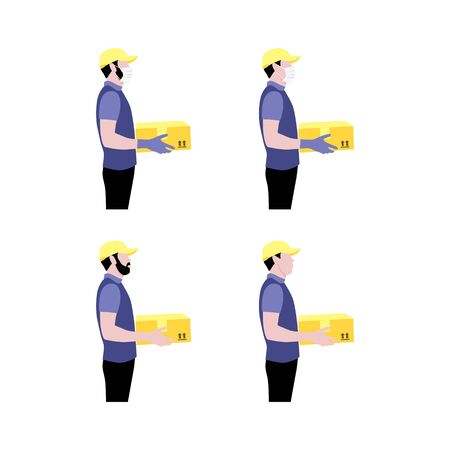 Vector illustration set of couriers with package.  Delivering the parcel or box concept. Online shopping order. Young boy and adult with beard worker with and without protective gloves and masks