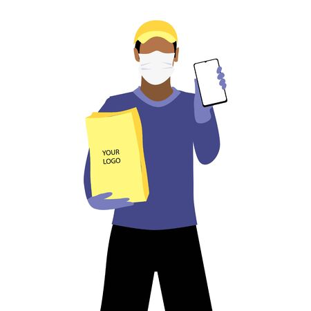 Vector illustration of black man in protective medical mask and a cap is delivering the paper package and showing smartphone. Safe online delivery to the door concept. Online shopping order Illustration