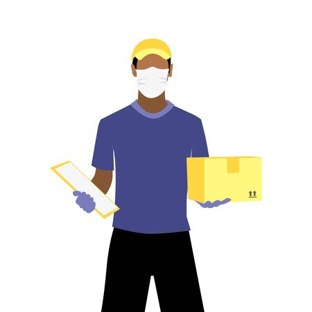Vector illustration of black man in protective medical mask and gloves is delivering the parcel or box.  Safe contactless delivery to the door by courier concept. Online shopping order