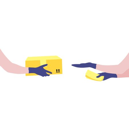 Vector illustration of courier's hands in protective gloves with package and human reaching out hand to get box and  money in other hand.  Delivering the parcel or box concept. Online shopping order Illustration