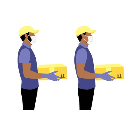 Vector illustration set of black or latin courier in protective gloves and masks with package.  Delivering the parcel or box concept. Online shopping order. Young boy and adult worker