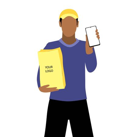 Vector illustration of black or latin man in a cap is delivering the paper package and showing smartphone. Safe online delivery to the door concept. Online shopping order