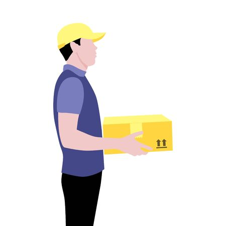 Vector illustration of young courier in cap with package.  Delivering the parcel or box concept. Online shopping order. Boy works after school